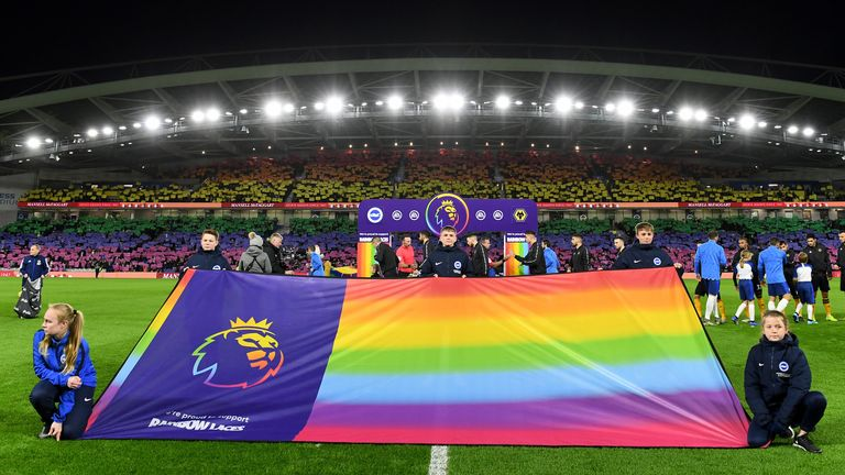 Brighton's Amex Stadium rainbow mosaic was a memorable moment from the 2019 Rainbow Laces activation in the Premier League