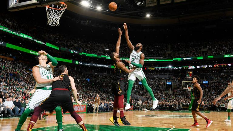 Jaylen Brown of the Boston Celtics shoots the ball during the game against the Cleveland Cavaliers