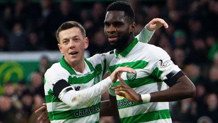 Callum McGregor (L) and goalscorer Odsonne Edouard celebrate Celtic's second against Hibernian