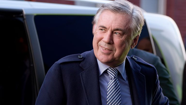New Everton manager Carlo Ancelotti arrives at Goodison Park before the club's match with Arsenal