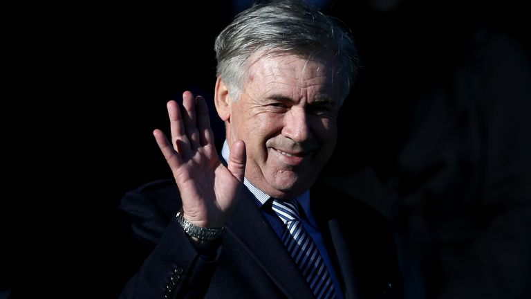 Carlo Ancelotti in the stands at Goodison Park