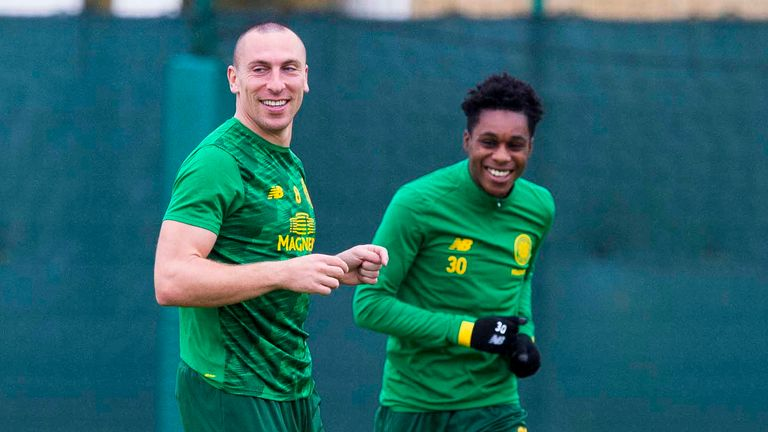 Celtic's Scott Brown (L) and .Jeremie Frimpong during a training session at Lennoxtown