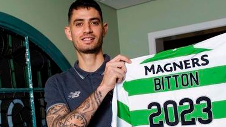 Celtic's Nir Bitton is pictured after agreeing a new deal with the club