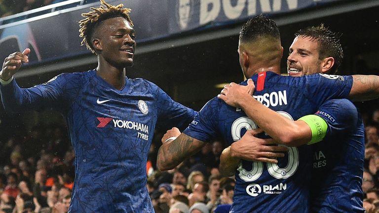 Cesar Azpilicueta celebrates scoring Chelsea's second goal against Lille