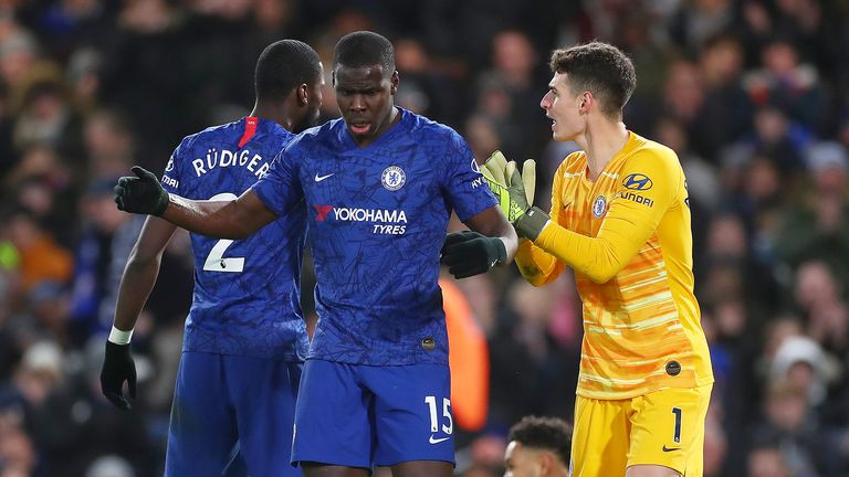 Kurt Zouma and Kepa Arrizabalaga of Chelsea react during the Premier League match between Chelsea FC and AFC Bournemouth at Stamford Bridge on December 14, 2019 in London, United Kingdom.