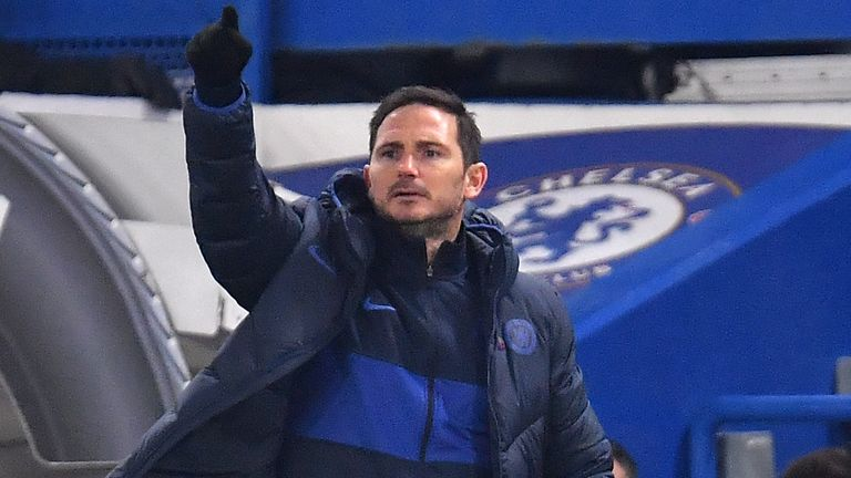 Frank Lampard on the touchline during Chelsea's match against Aston Villa