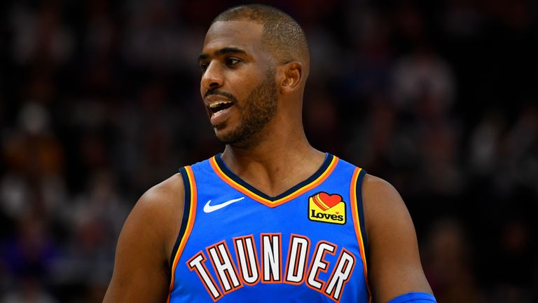 Chris Paul of the Oklahoma City Thunder looks on during a game against the Utah Jazz