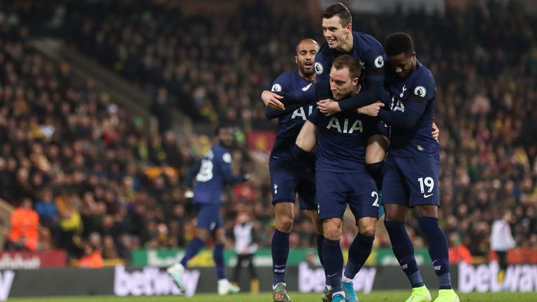 Christian Eriksen of Tottenham Hotspur celebrates after scoring a goal to make it 1-1