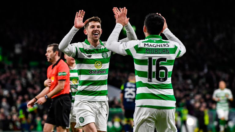 Celtic's Ryan Christie (L) celebrates his goal with Lewis Morgan