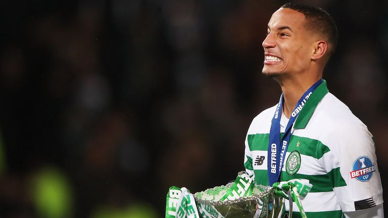 Celtic defender Christopher Jullien lifts the Scottish League Cup