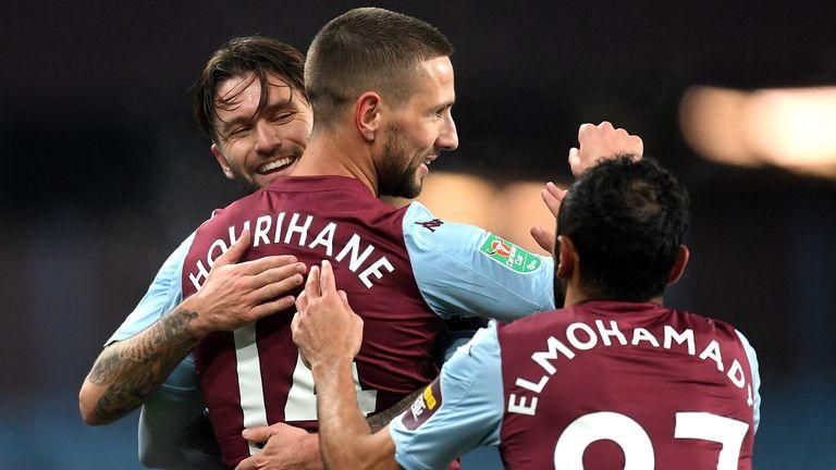 Conor Hourihane celebrates with team-mate Henri Lansbury after scoring Aston Villa's first goal