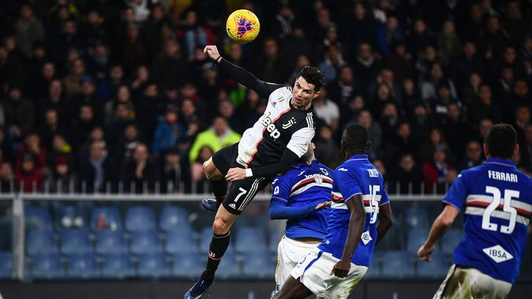Ronaldo rises above Sampdoria shirts to score what proved the matchwinning goal