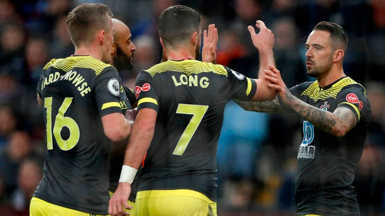 Danny Ings celebrates after giving Southampton the lead at Villa Park