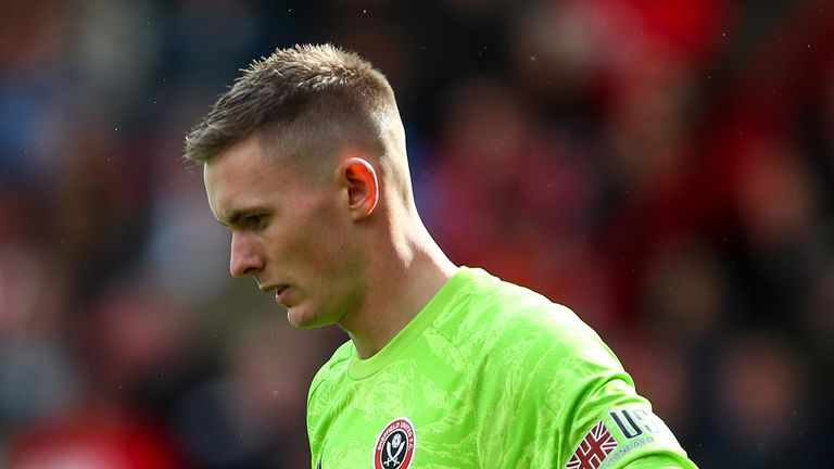 Dean Henderson of Sheffield United during the Premier League match between Sheffield United and Liverpool FC at Bramall Lane on September 28, 2019 in Sheffield, United Kingdom.