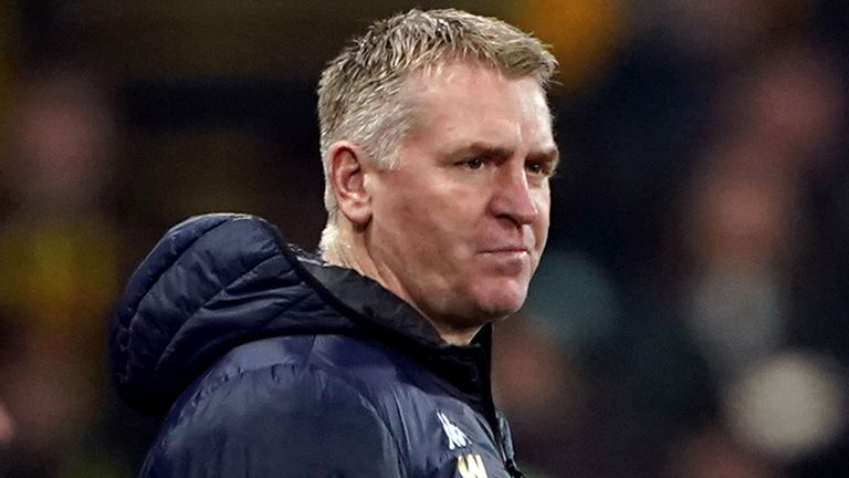Aston Villa manager Dean Smith during the Premier League match at Vicarage Road