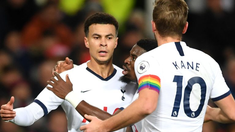 Dele Alli celebrates his equaliser with Serge Aurier and Harry Kane