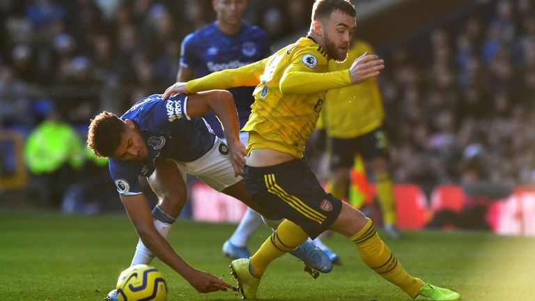 Dominic Calvert-Lewin and Calum Chambers in Premier League action at Goodison Park