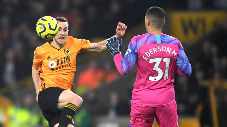 Man City goalkeeper Ederson fouls Diogo Jota