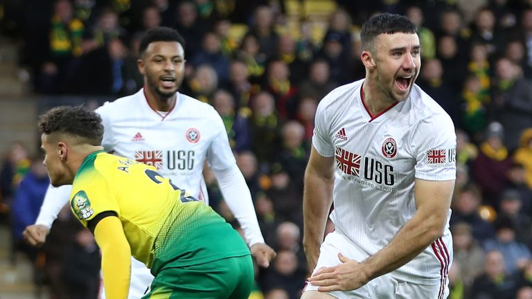 Sheffield United's Enda Stevens celebrates scoring against Norwich