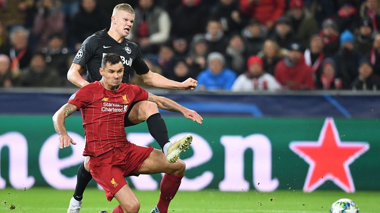 Erling Haaland and Liverpool's Croatian defender Dejan Lovren