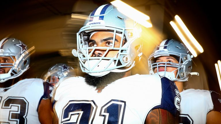 Cowboys running back Ezekiel Elliott gearing up before the Week 12 defeat to the New England Patriots