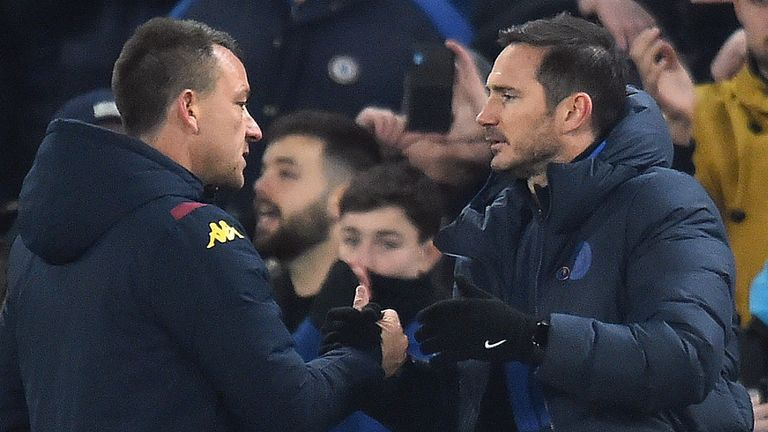 Frank Lampard embraces former team-mate Terry at the final whistle