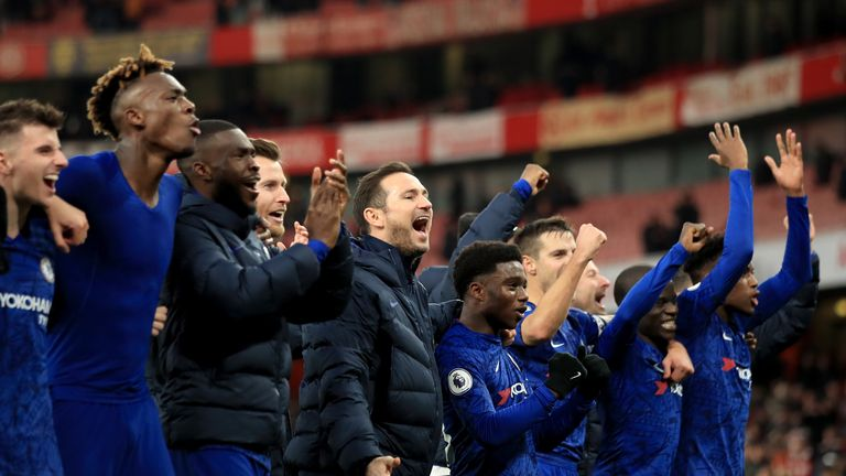 Frank Lampard manager of Chelsea celebrates the win with his players during the Premier League match between Arsenal FC and Chelsea FC at Emirates Stadium on December 29, 2019 in London, United Kingdom.