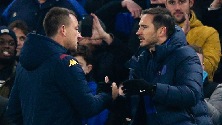 Frank Lampard shakes hands with John Terry after Chelsea's match against Aston Villa
