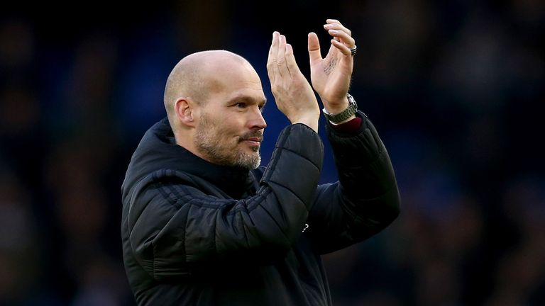Interim Manager of Arsenal, Freddie Ljungberg acknowledges the fans after the Premier League match between Everton FC and Arsenal FC at Goodison Park on December 21, 2019 in Liverpool, United Kingdom