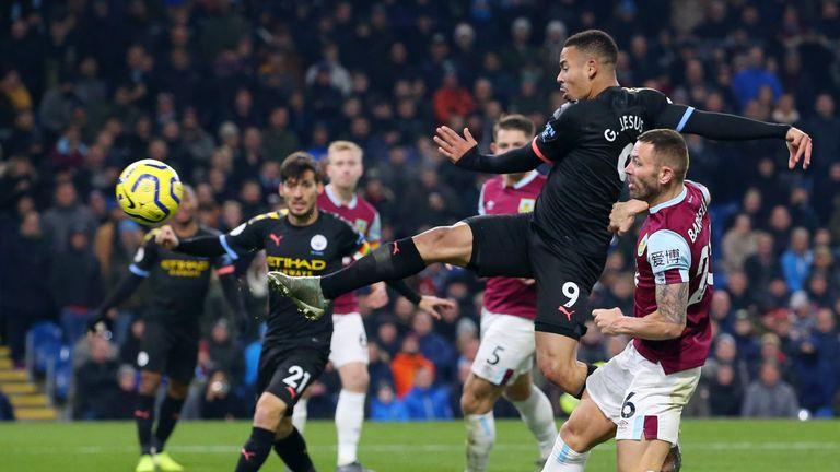 Gabriel Jesus scores for Manchester City against Burnley