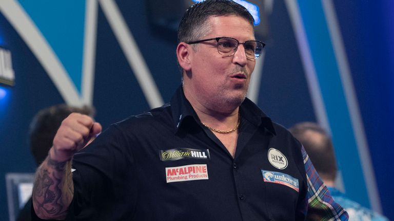 Two-time world champion Gary Anderson is among the stars in action on Monday evening