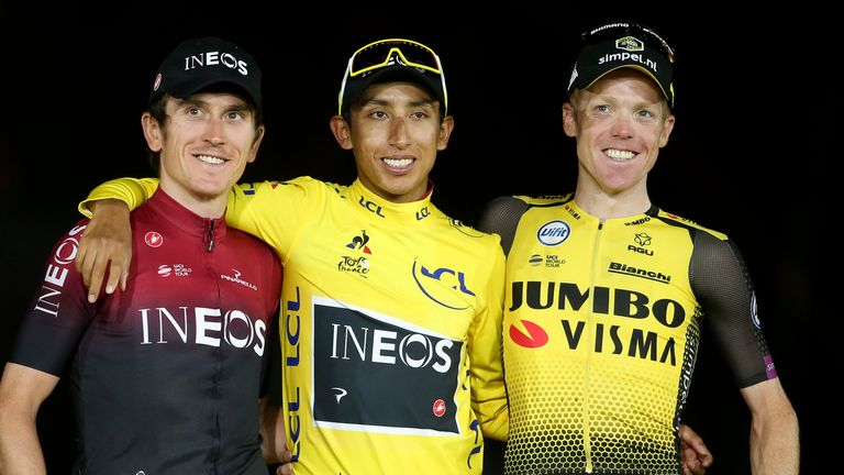 Geraint Thomas of Great Britain and Team Ineos, winner of Tour de France 2019 yellow jersey Egan Bernal Gomez of Colombia and Team Ineos, third place Steven Kruijswijk of the Netherlands and Team Jumbo-Visma during the podium ceremony following stage 21 of the 106th Tour de France 2019, the last stage from Rambouillet to Paris - Champs Elysees