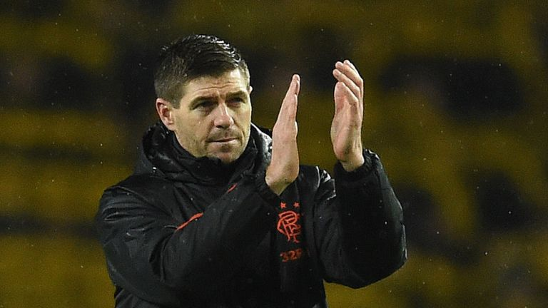 Steven Gerrard applauds the Rangers fans after securing qualification for the Europa League knockout stages