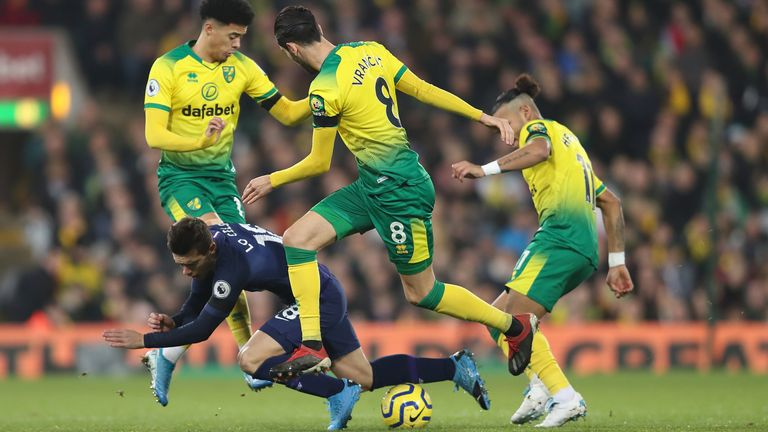 Giovani Lo Celso is fouled by the Norwich defence