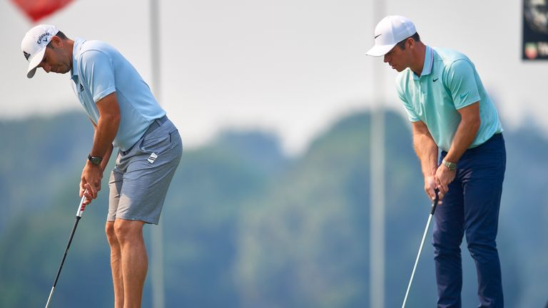 Garcia and Paul Casey practice at The Australian Golf Club in Sydney