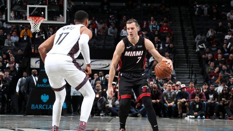 Goran Dragic of the Miami Heat handles the ball against the Brooklyn Nets