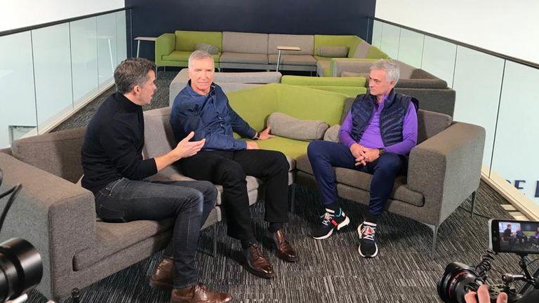 Jose Mourinho with Sky Sports' Graeme Souness and David Jones