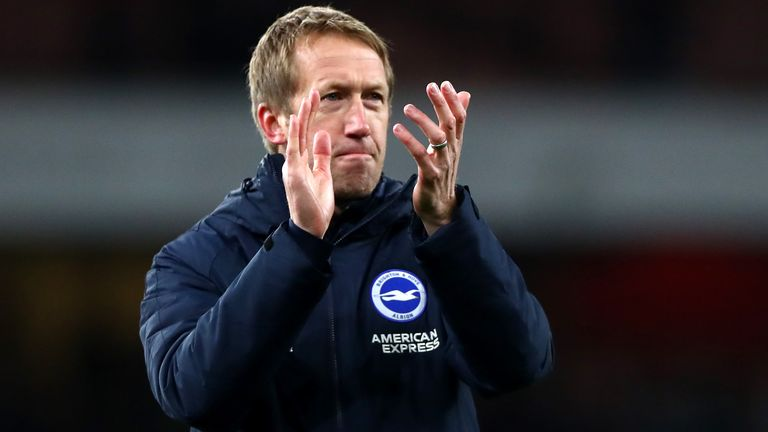 Graham Potter at full-time after Brighton beat Arsenal 2-1 at the Emirates