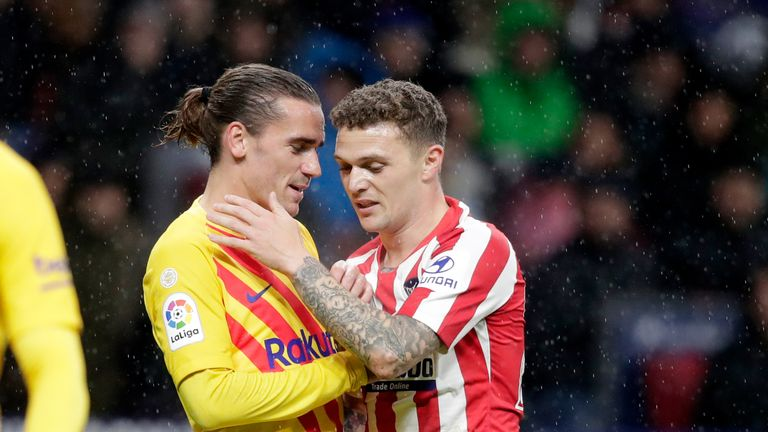 Antoine Griezmann gets acquainted with Kieran Trippier on his return to Atletico Madrid