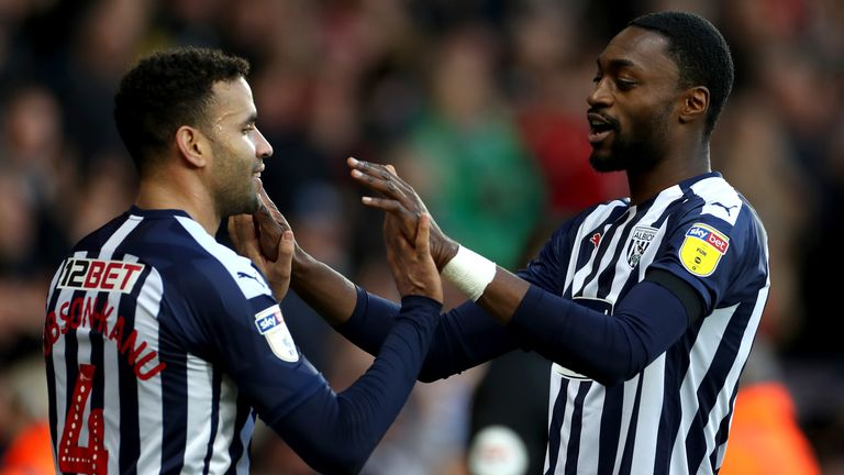 West Bromwich Albion's Hal Robson-Kanu (left) celebrates scoring against Swansea