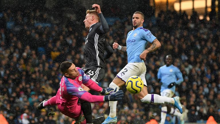 Ederson and Harvey Barnes collide but Leicester are not awarded a penalty