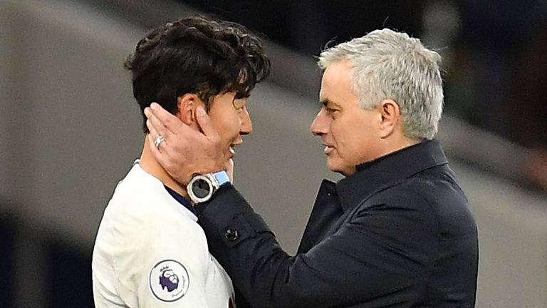 Jose Mourinho congratulates Heung-min Son on his wonder goal against Burnley