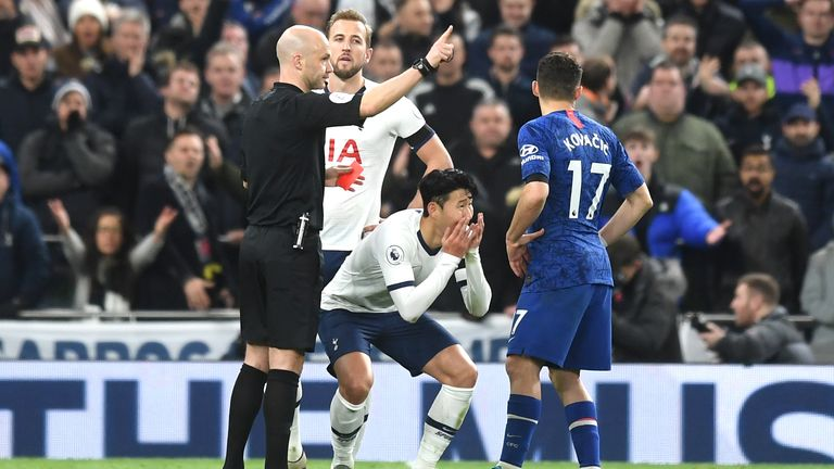Son reacts in shock to being shown his third red card of 2019 on Sunday