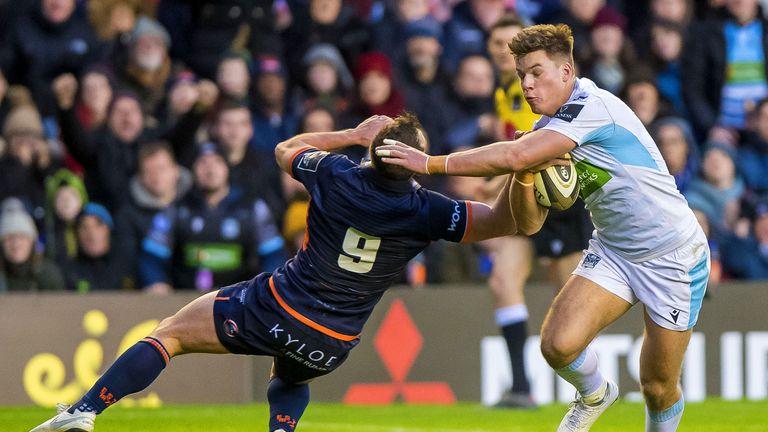 Glasgow's Huw Jones scores a try