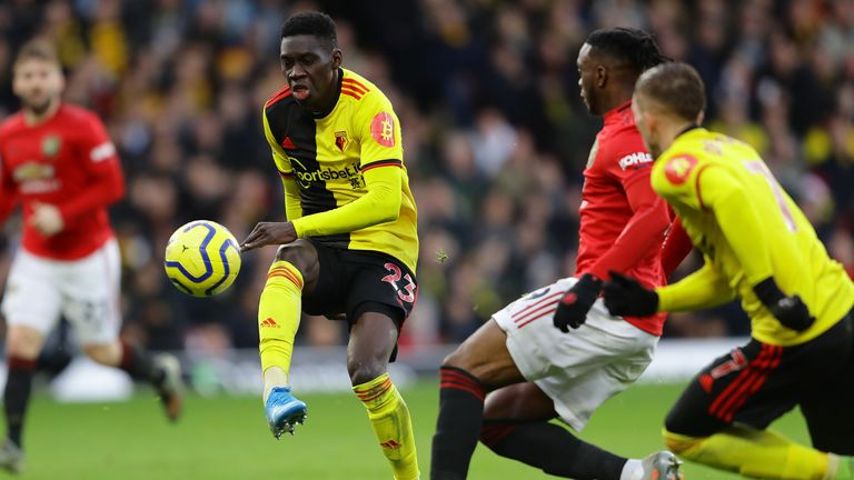 Ismaila Sarr is fouled in the area by Aaron Wan-Bissaka which leads to a penalty