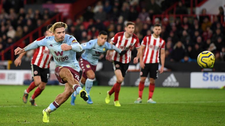 Jack Grealish misses a penalty for Aston Villa against Sheffield United