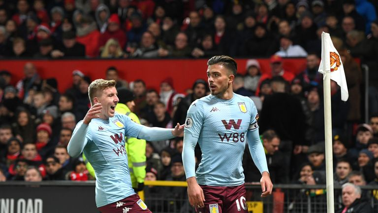 Jack Grealish celebrates his opening goal against Manchester United with Matt Targett