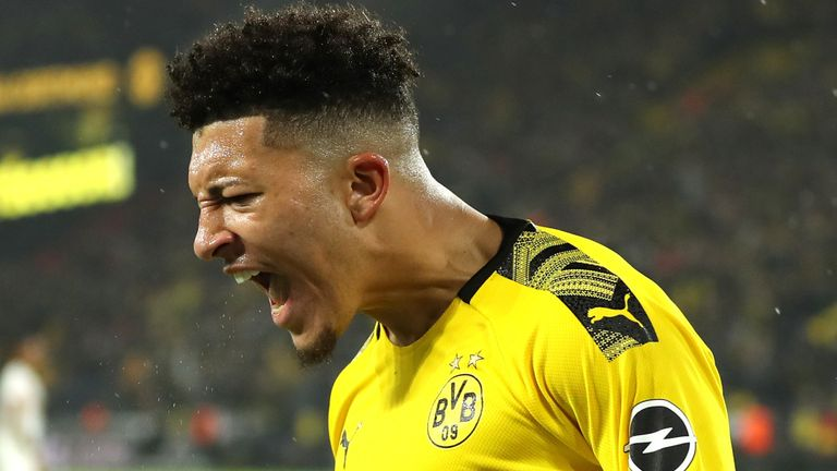 Jadon Sancho celebrates his goal against RB Leipzig