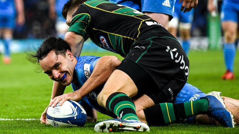 James Lowe is all smiles after scoring Leinster's fifth try