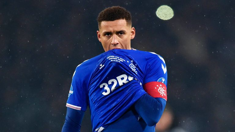 Rangers captain James Tavernier is pictured after the Scottish Cup Final between Rangers and Celtic at Hampden Park on December 8 2019